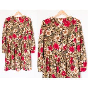 Vintage Floral Hibiscus Hawaiian Long Sleeve Dress